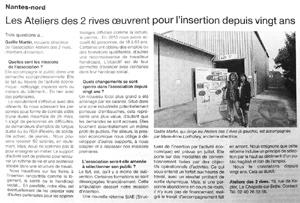 article ouest-france sur l'association ESS A2R à la Chapelle sur Erdre, journée portes ouvertes pour les 20 ans